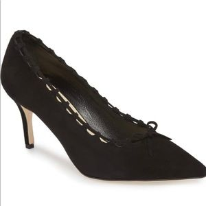Butter Italy Eris Pointed Toe Black Suede Pumps